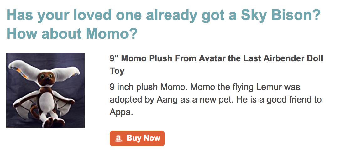 Momo Plush Last Airbender